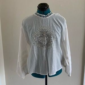 White batwing hand beaded top